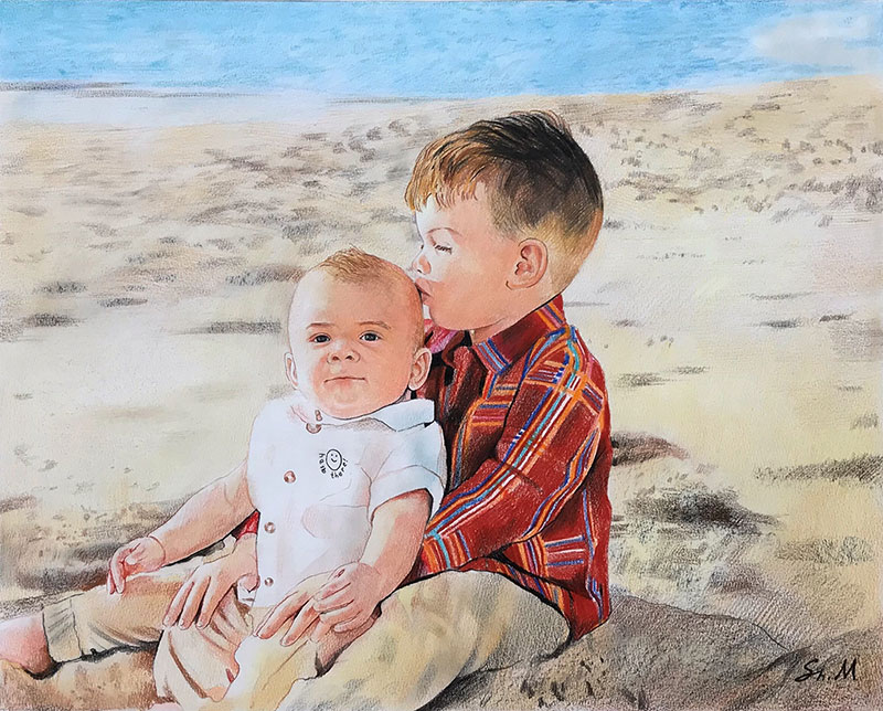 Beautiful color pencil painting of two kids