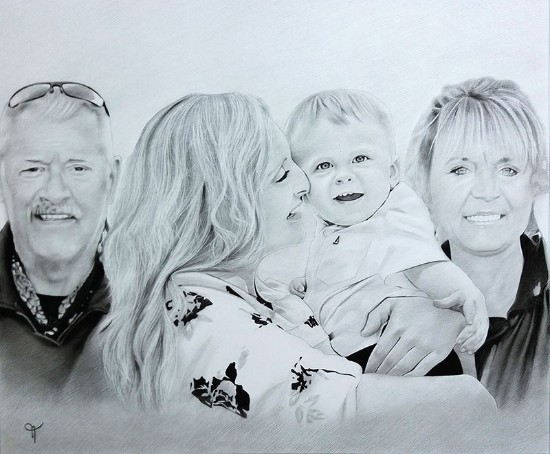 Beautiful handmade charcoal painting of a family