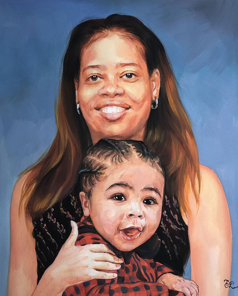 Beautiful pastel painting of a mother and child
