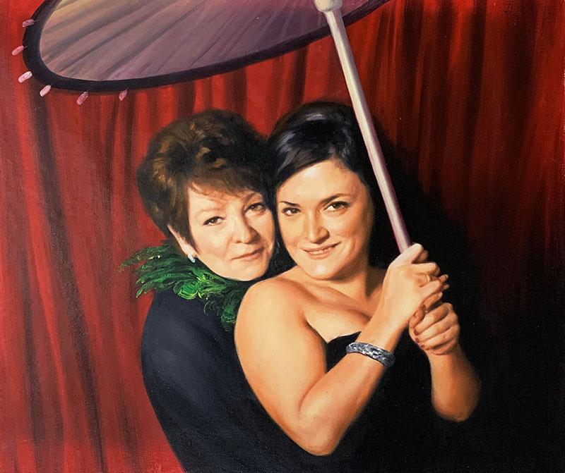 Beautiful handmade oil painting of two women