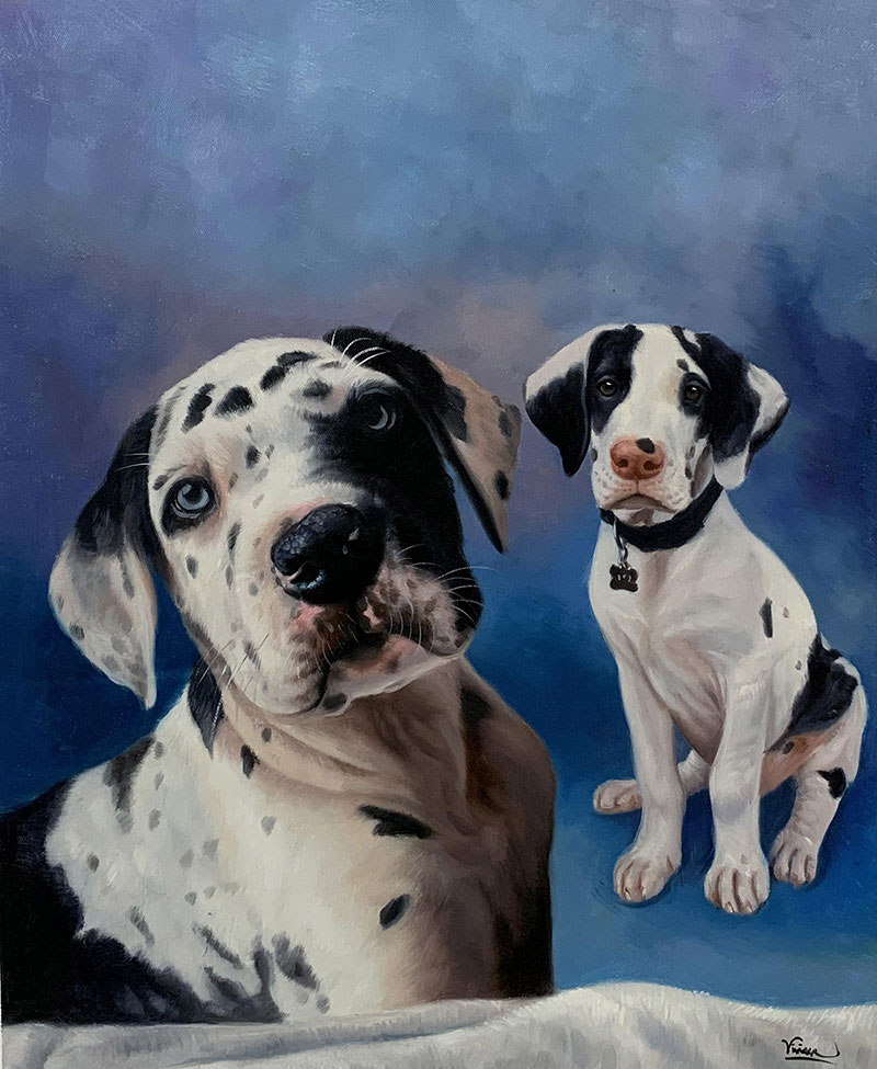 Custom handmade oil painting of two dogs