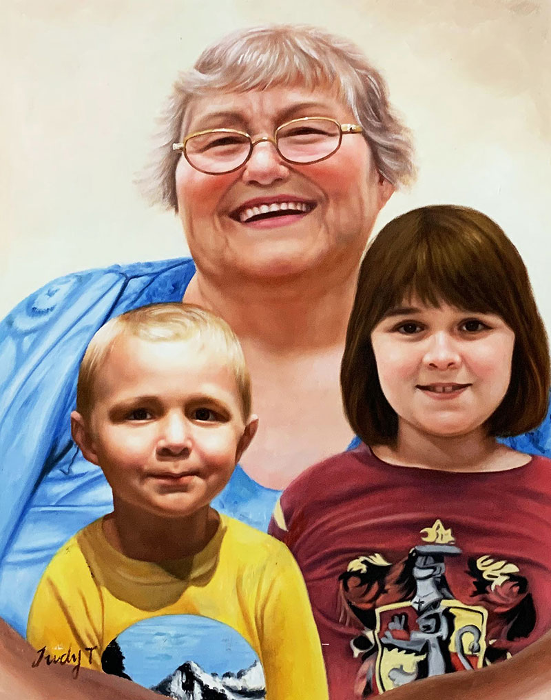 Beautiful oil painting of a grandmother with grandchildren
