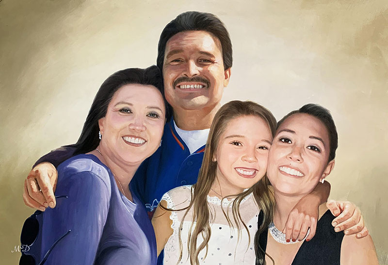 Gorgeous oil artwork of a happy family