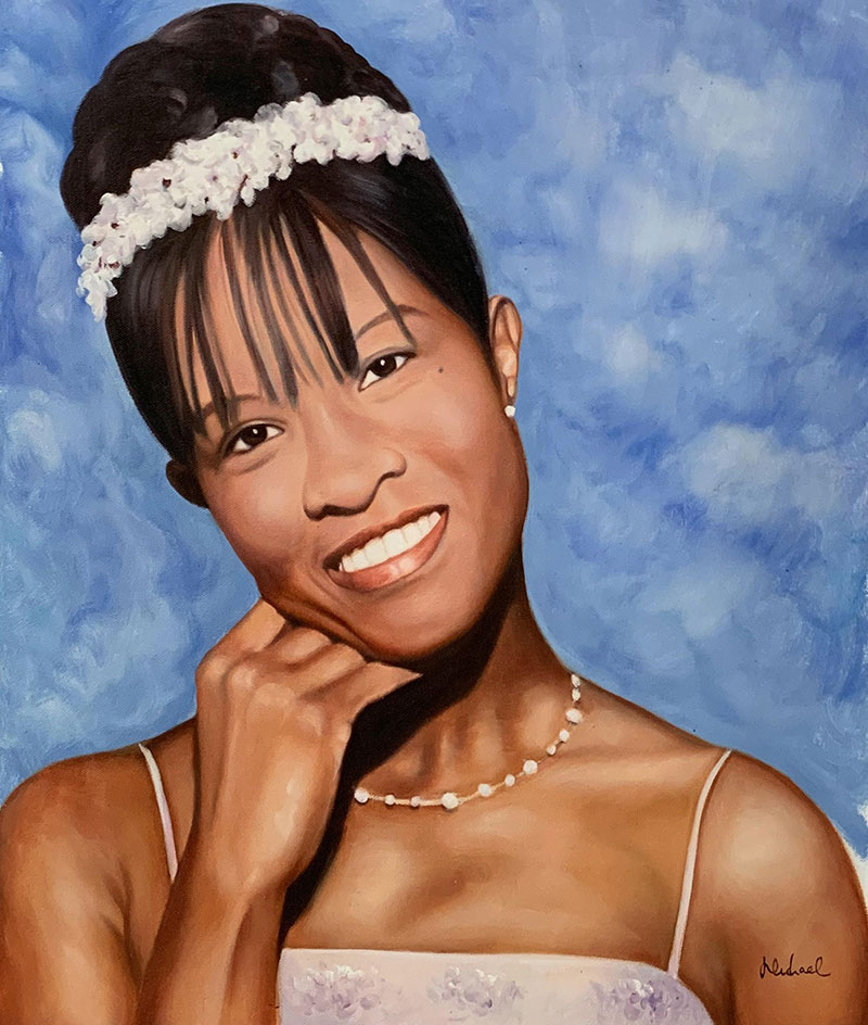 Gorgeous acrylic portrait of a bride