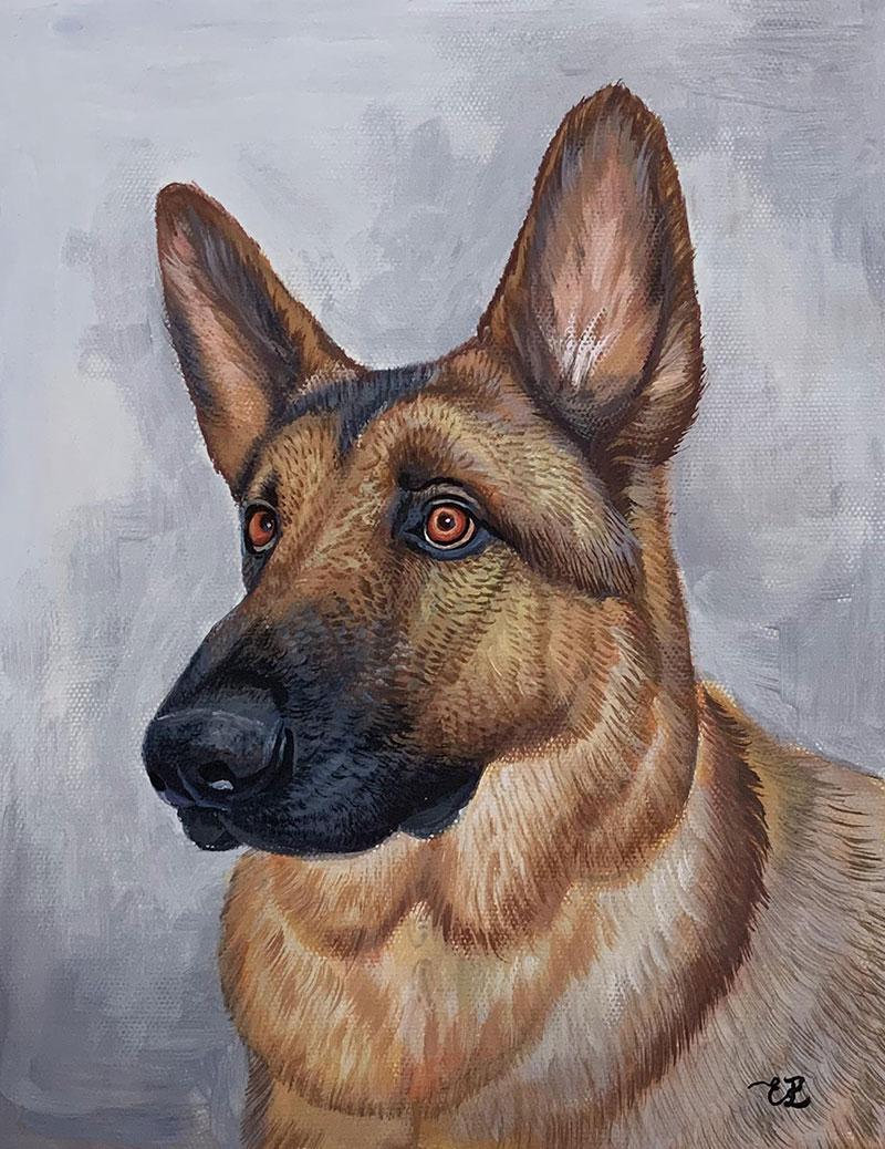 Beautiful handmade pastel painting of a dog
