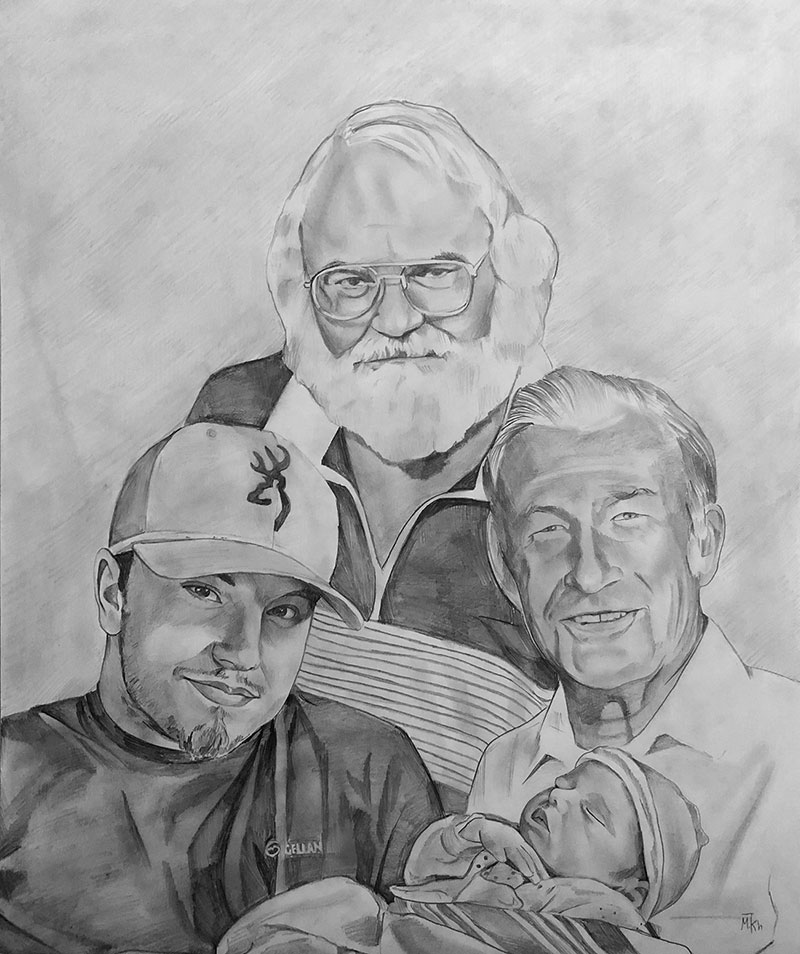 Beautiful handmade black pencil painting of a family