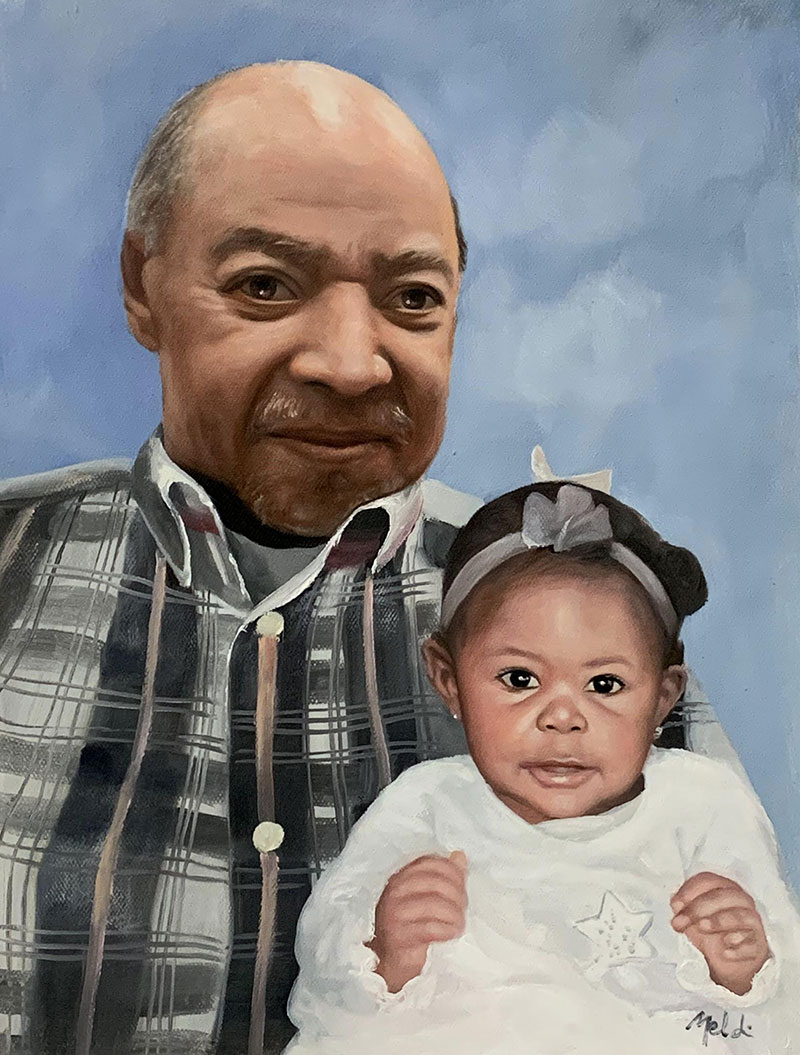 Beautiful acrylic painting of a man with a baby
