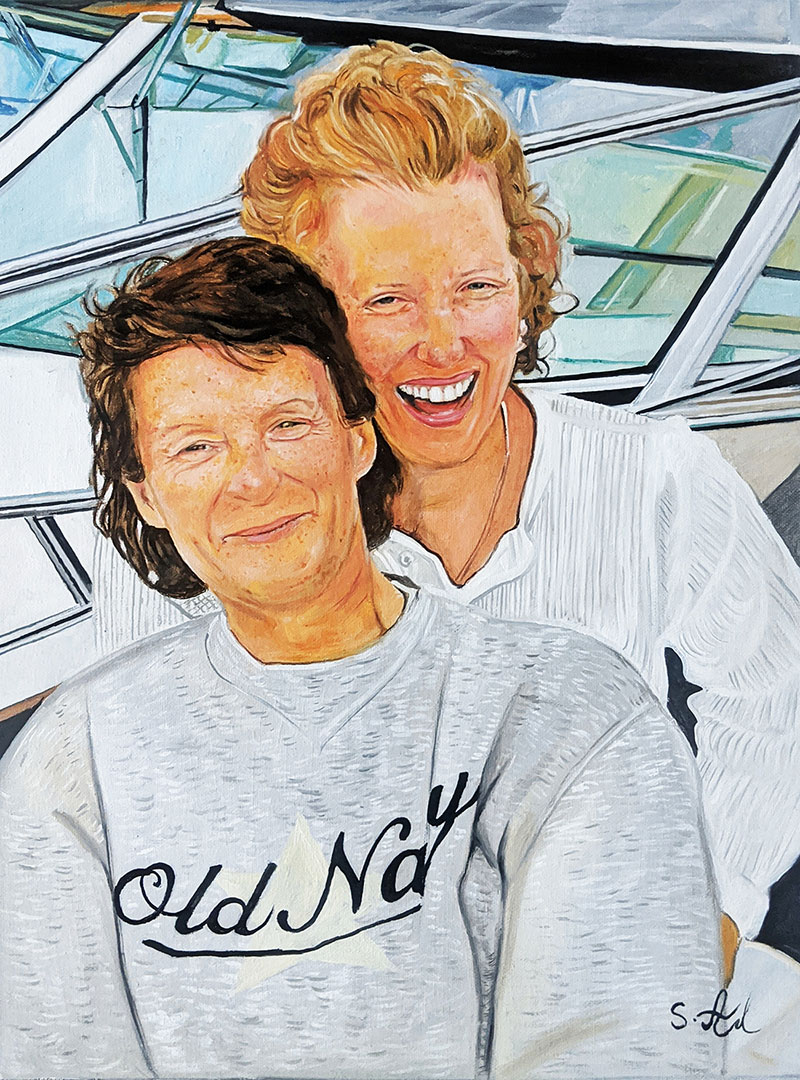 Beautiful oil painting of two adults