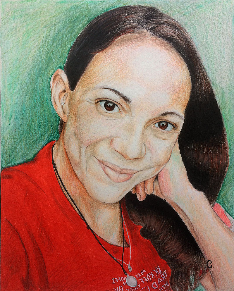 Personalized handmade color pencil portrait of a lady