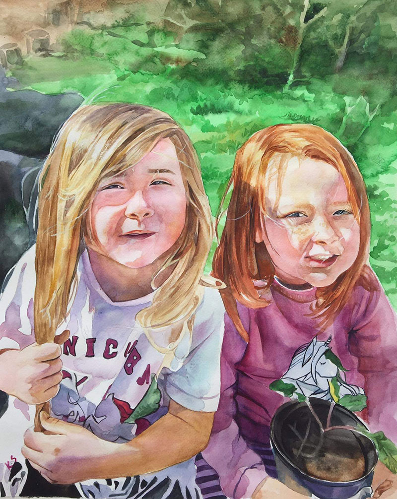 Custom watercolor painting of two children