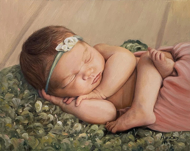 Gorgeous handmade oil painting of a baby girl