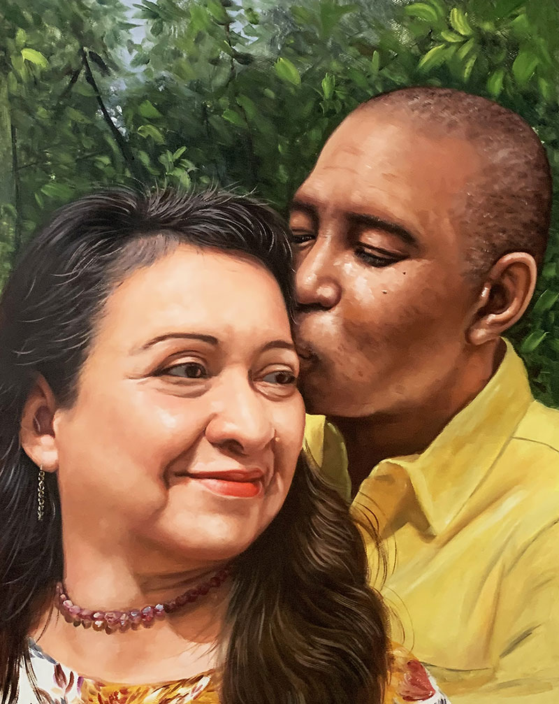 Gorgeous handmade oil painting of a kissing couple