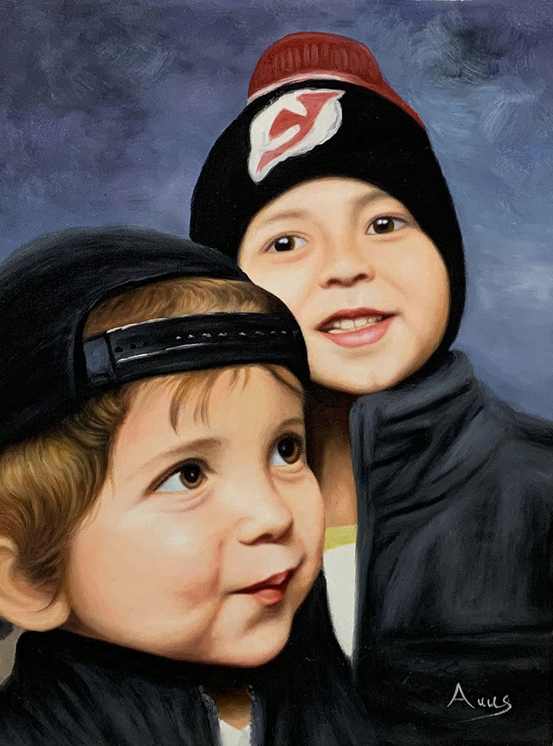 Beautiful oil painting of two little boys