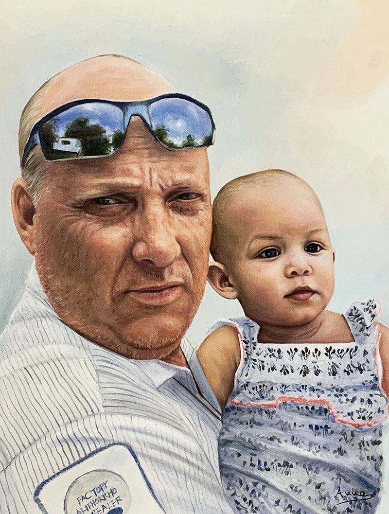Beautiful oil painting of a grandfather and child