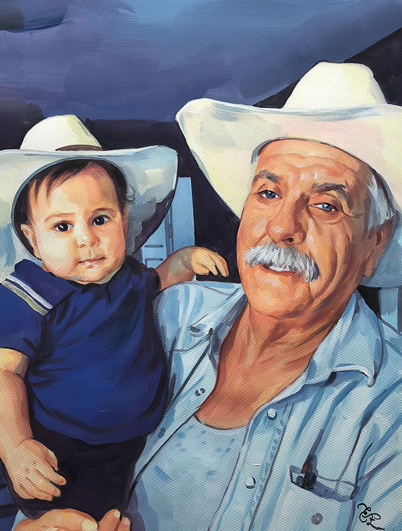 Gorgeous pastel painting of a grandfather and grandson