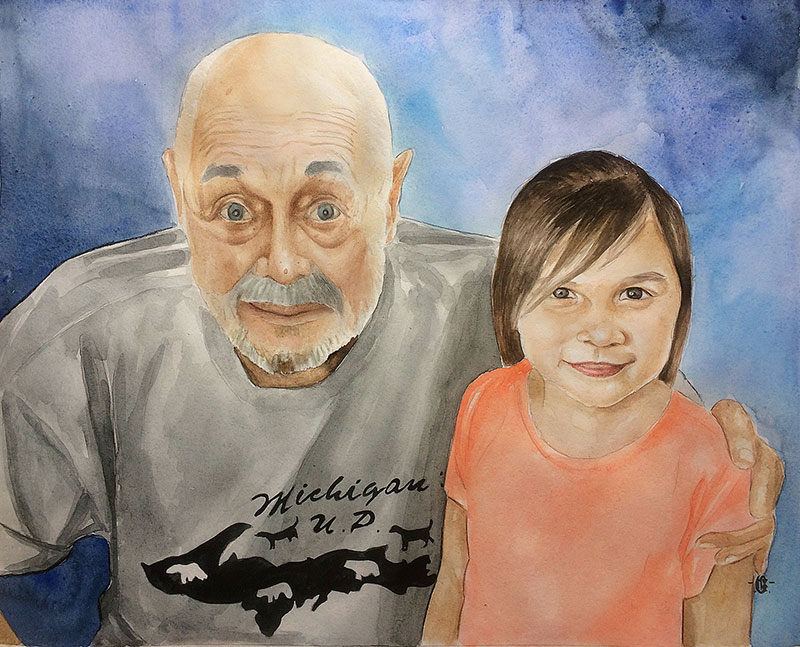 Beautiful watercolor painting of a grandfather with grandkid