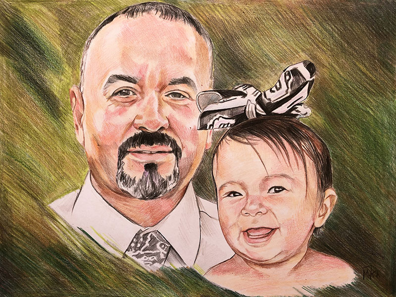 Beautiful color pencil painting of a father and daughter
