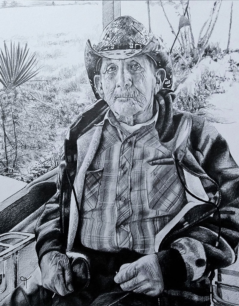 Personalized handmade black pencil painting of a man