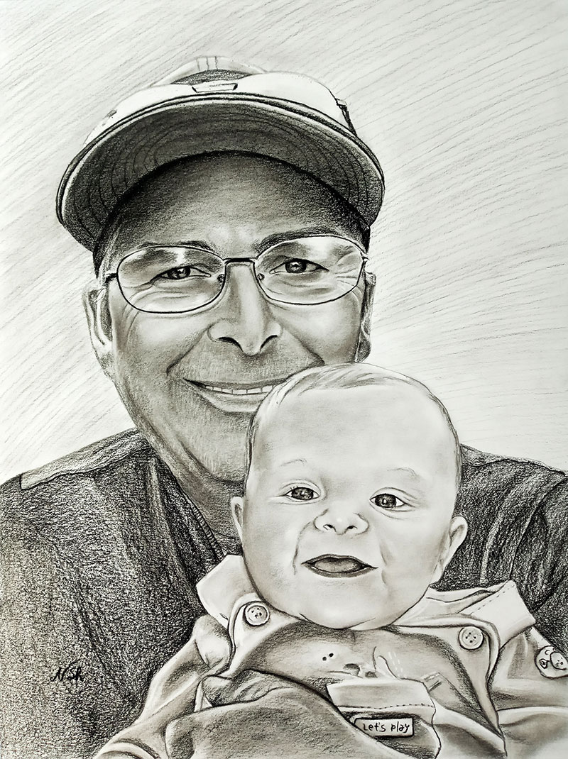 Beautiful charcoal artwork of a grandfather and a grandchild