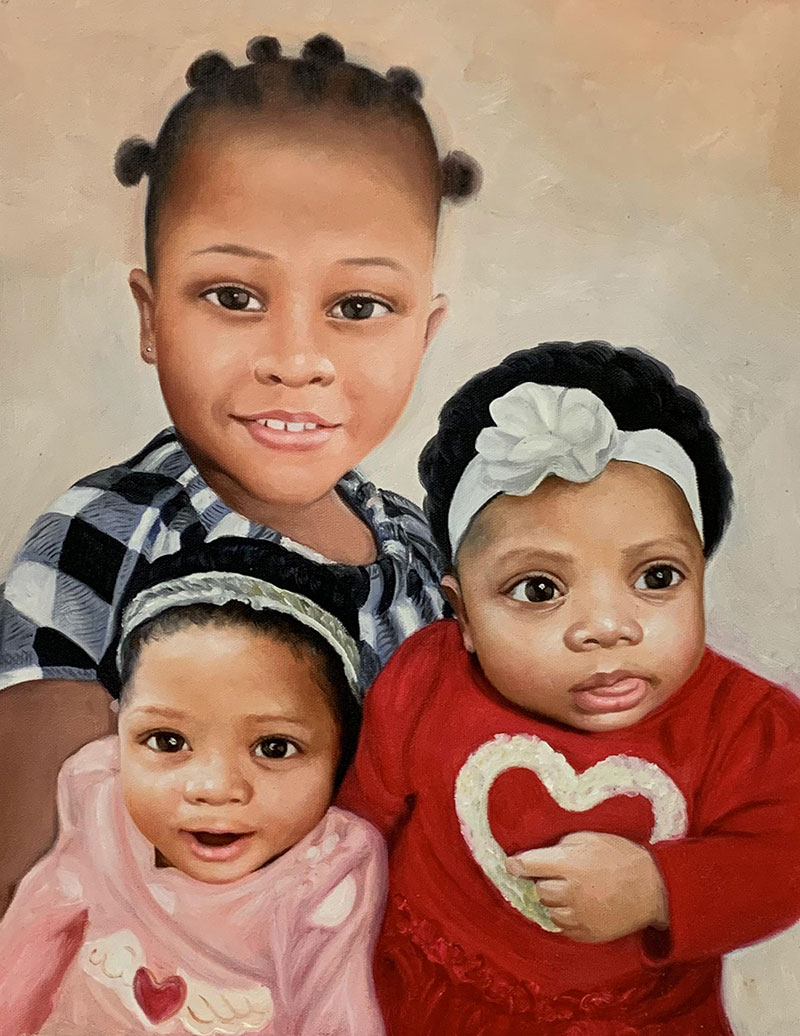 Personalized handmade oil painting of three children