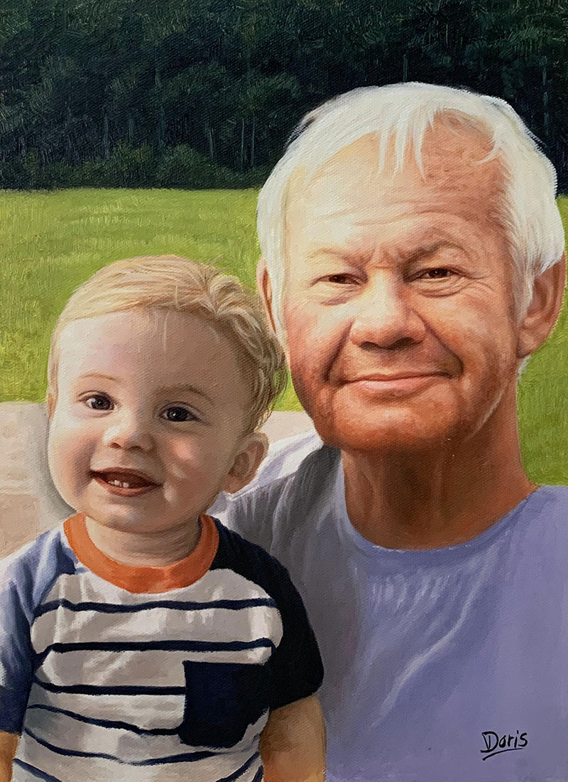 Beautiful handmade oil painting of a grandfather and a baby