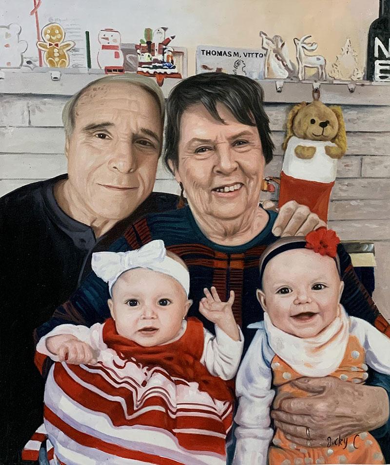 Custom oil painting of grandparent and grandchildren