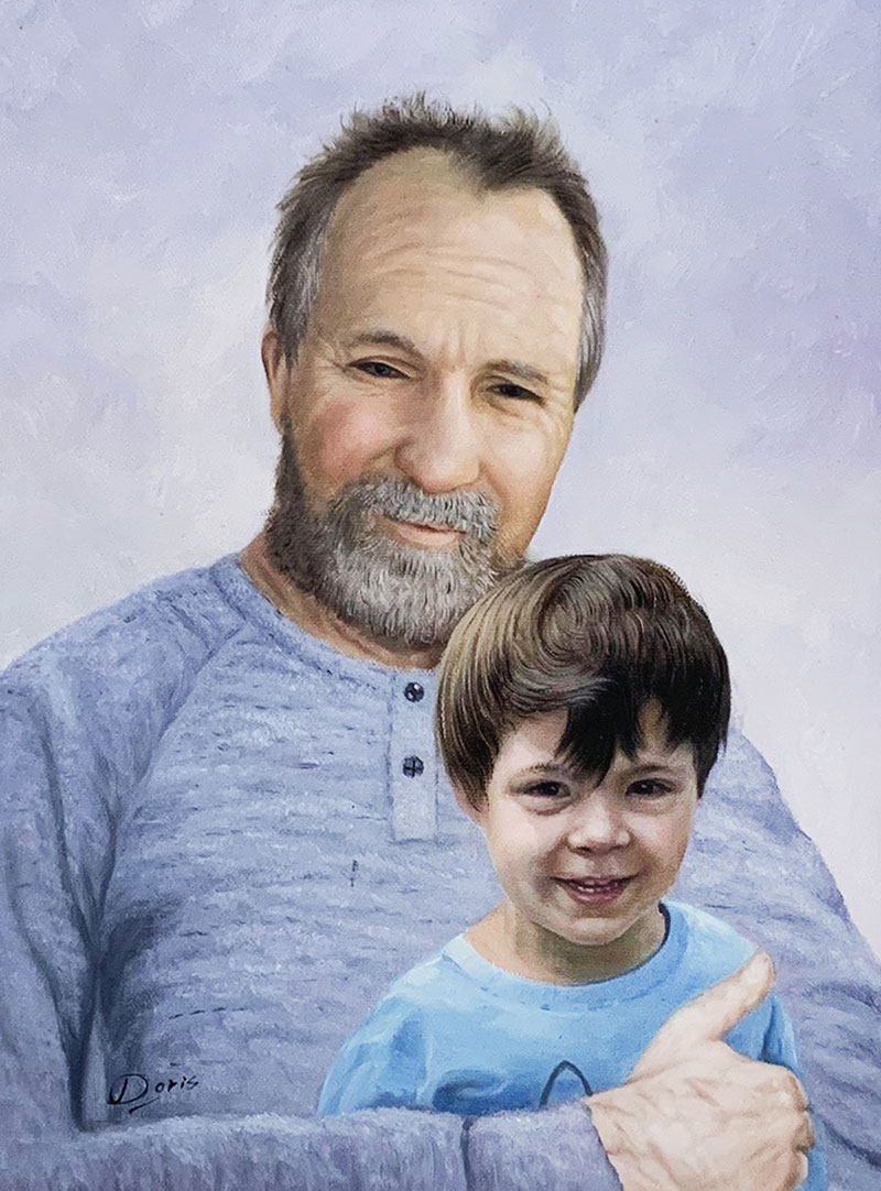 Beautiful oil artwork of a man with a little boy