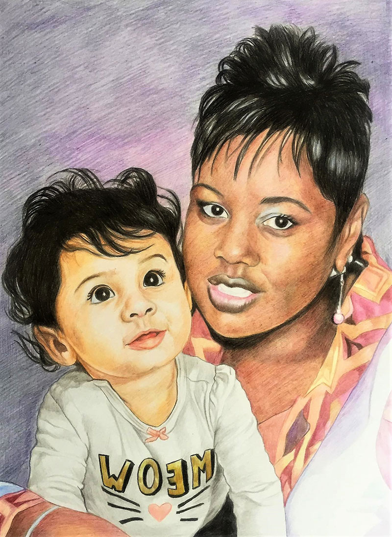 Beautiful color pencil painting of a mother and child