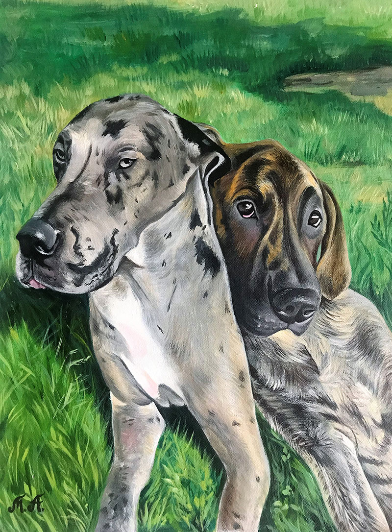 Custom acrylic painting of two dogs
