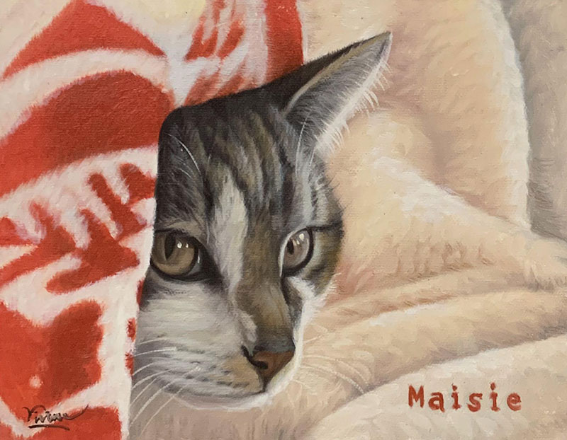 Beautiful acrylic painting of a cat