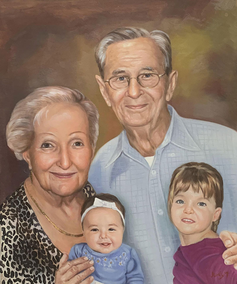 Personalized oil painting of grandparents and grandchildren