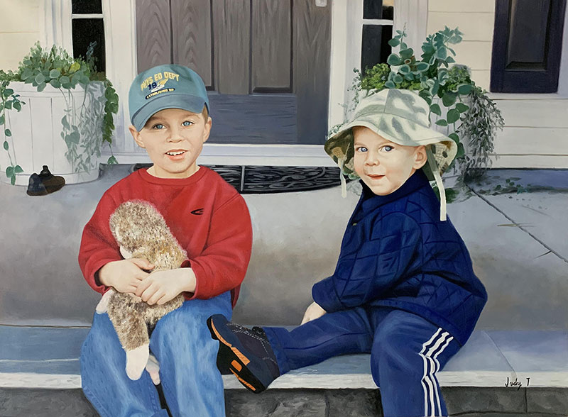 Beautiful handmade oil painting of two kids