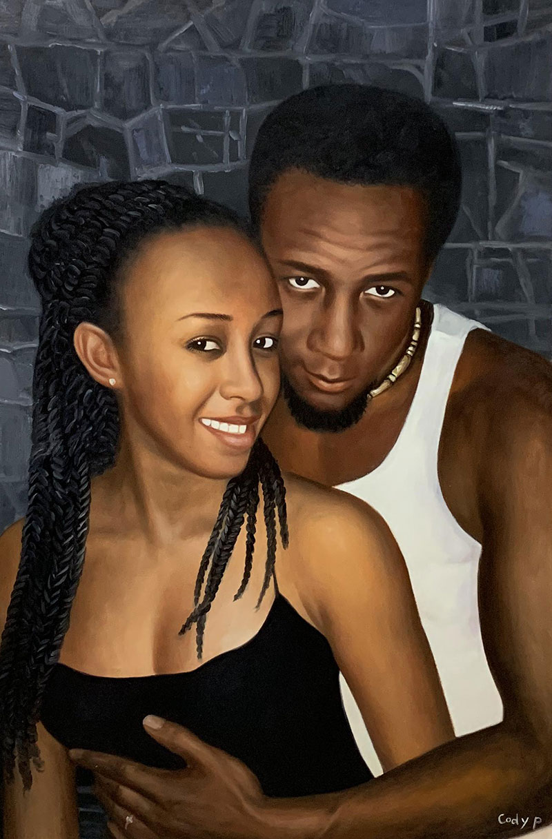Beautiful handmade oil painting of a couple