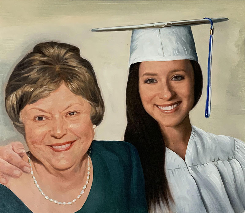 Beautiful oil painting of a mother and daughter