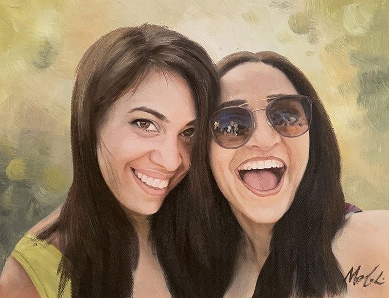 Beautiful handmade oil painting of friends