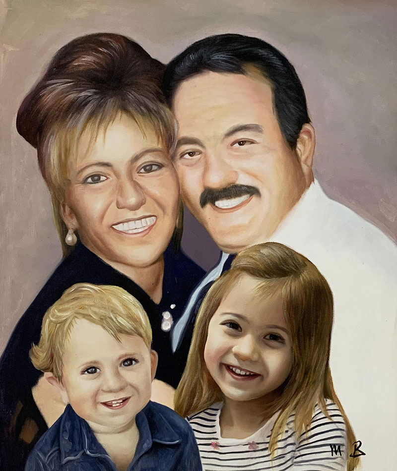 Gorgeous acrylic painting of a couple with two kids