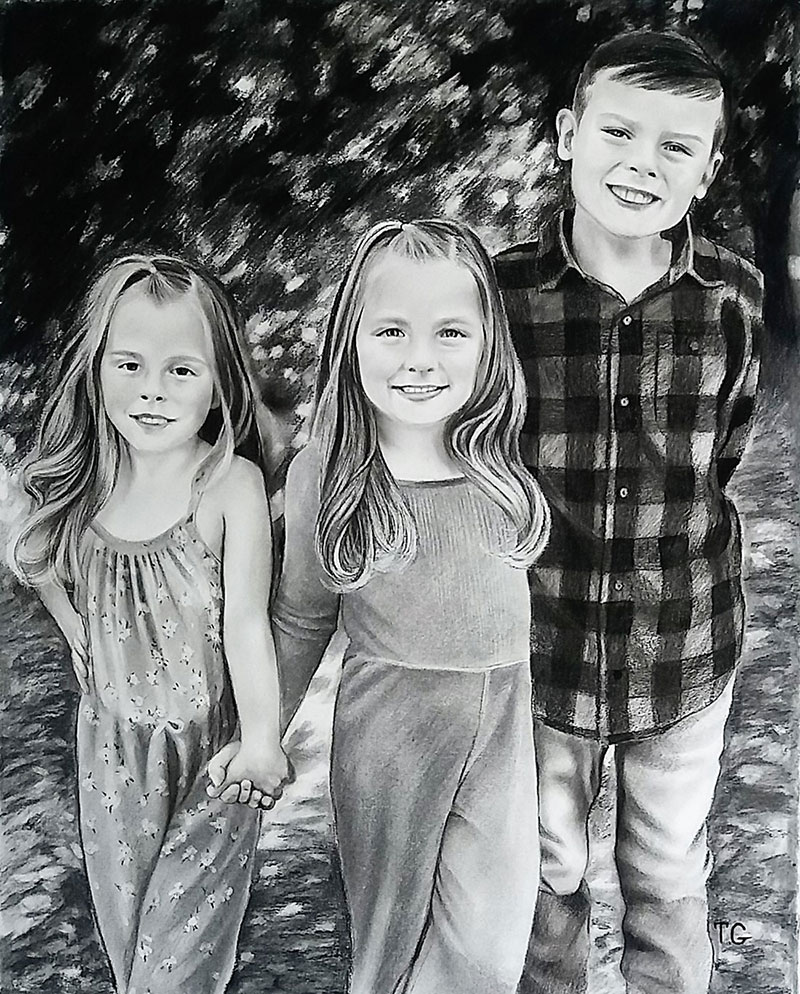 Beautiful charcoal painting of three kids