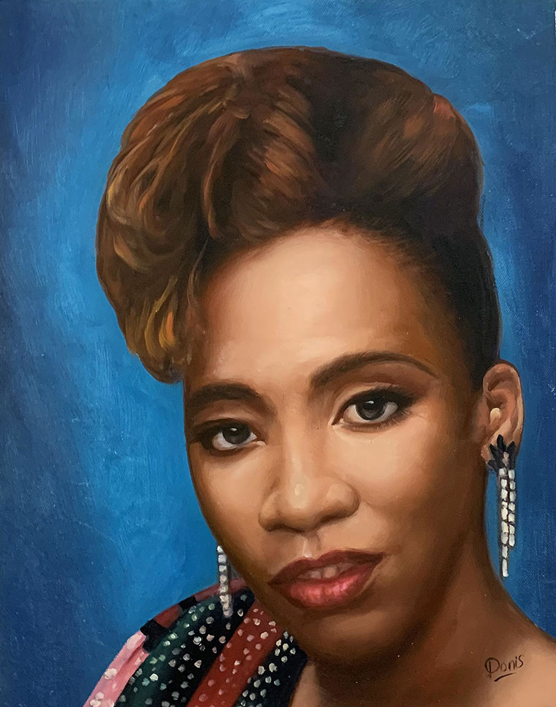 Personalized close up oil portrait of a woman