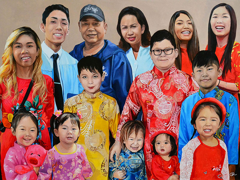 Gorgeous oil family portrait of fourteen people