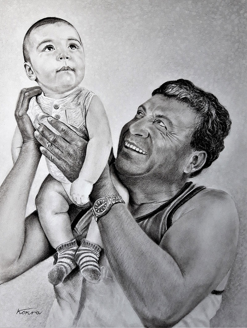 Custom charcoal painting of a father and son