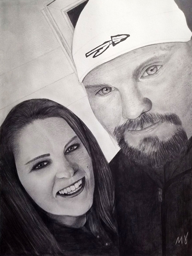 Beautiful handmade black pencil painting of a couple