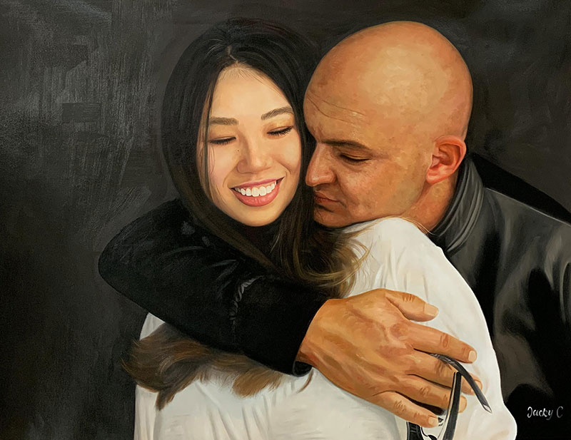 Stunning handmade oil painting of a loving couple