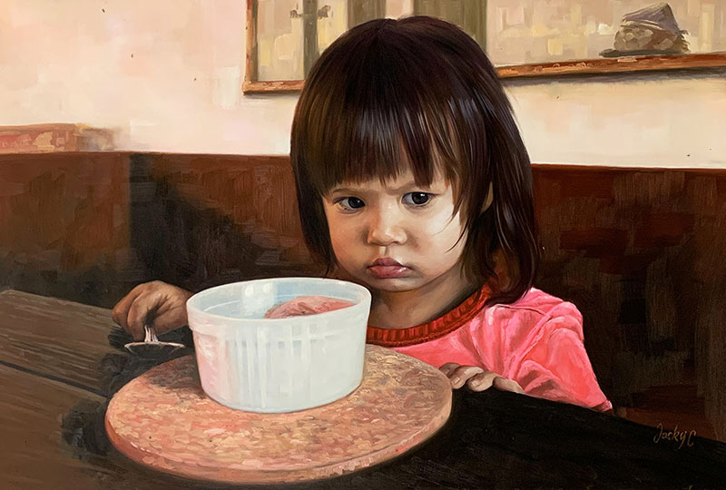 Personalized oil painting of a little girl with ice cream