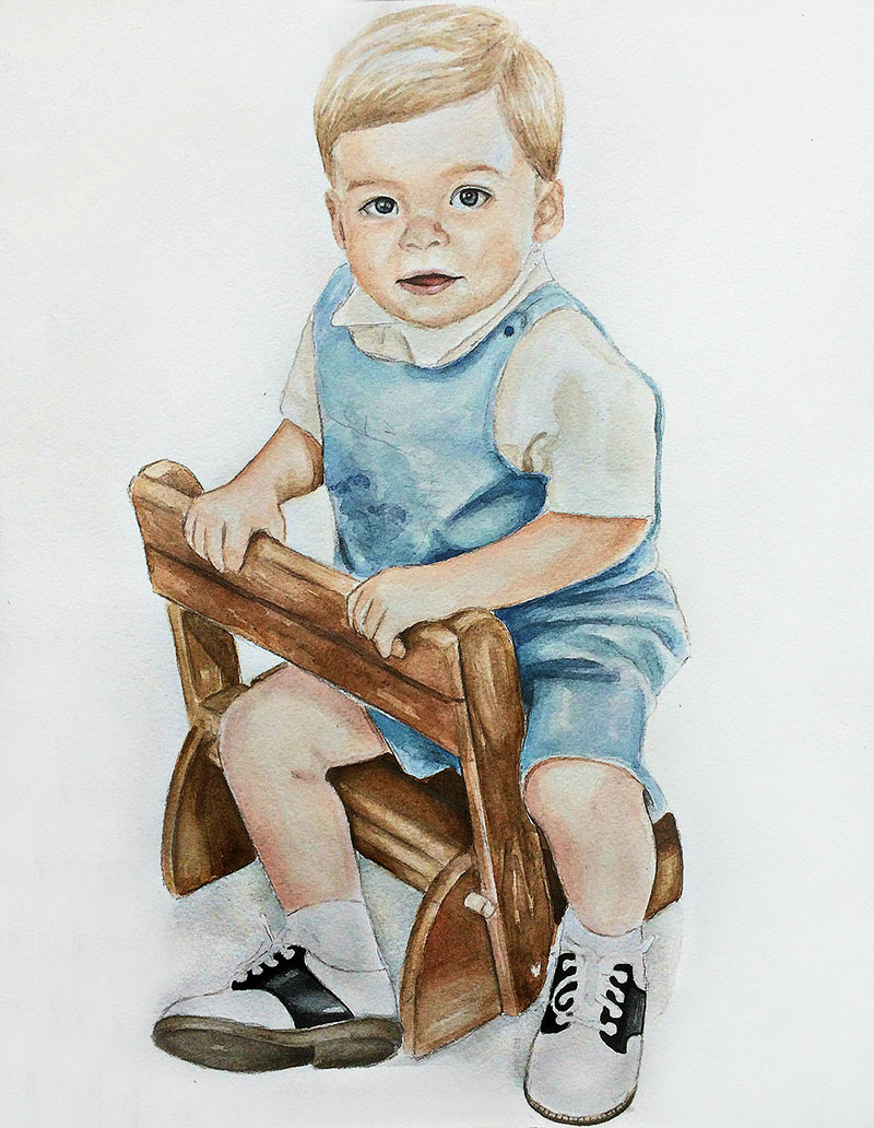Beautiful watercolor portrait of a baby