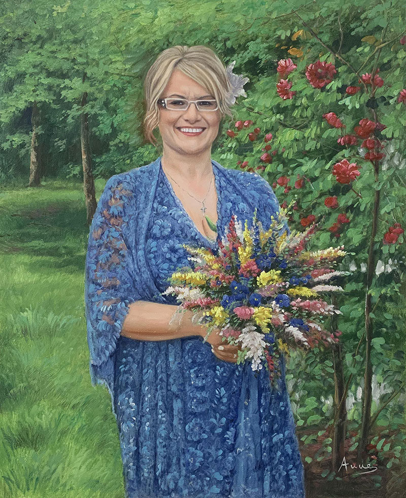 Stunning oil painting of a woman with flower bouquet