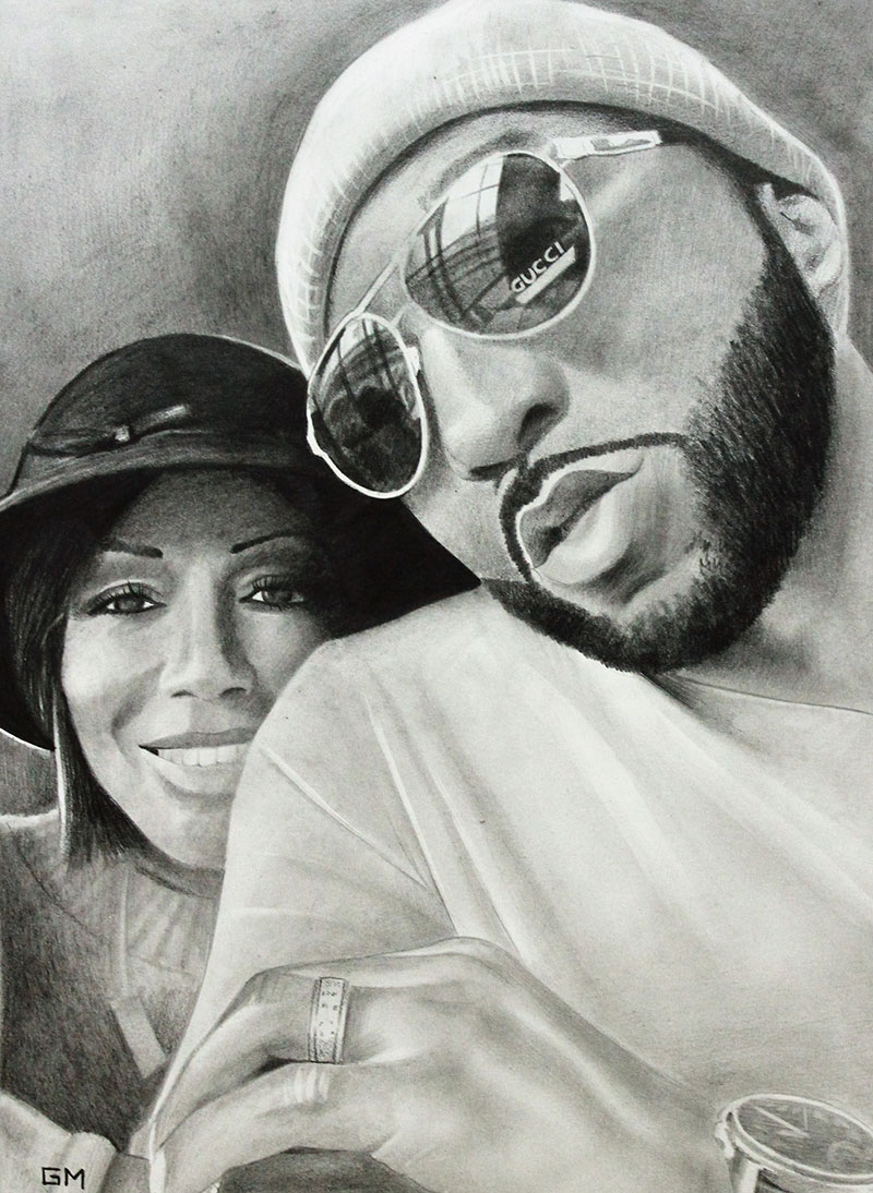 Gorgeous handmade black pencil artwork of a couple