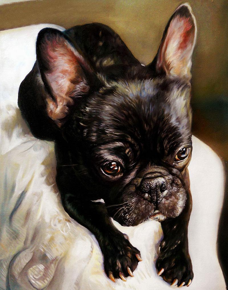 Custom handmade oil painting of a pet