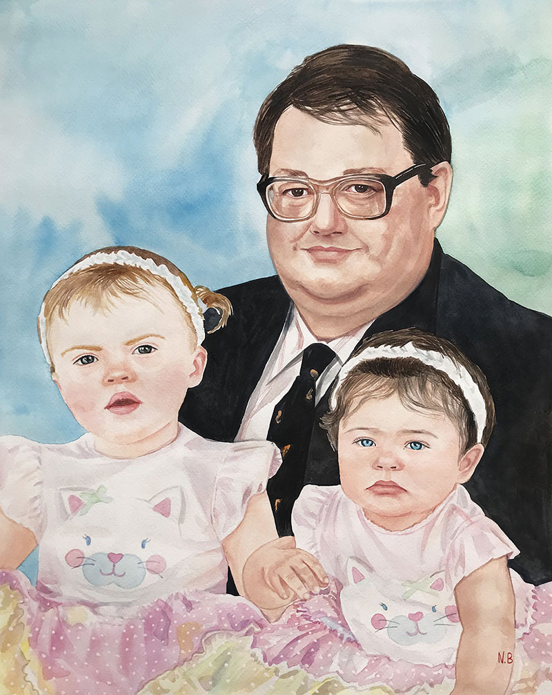Watercolor painting of a grandfather and grandchildren