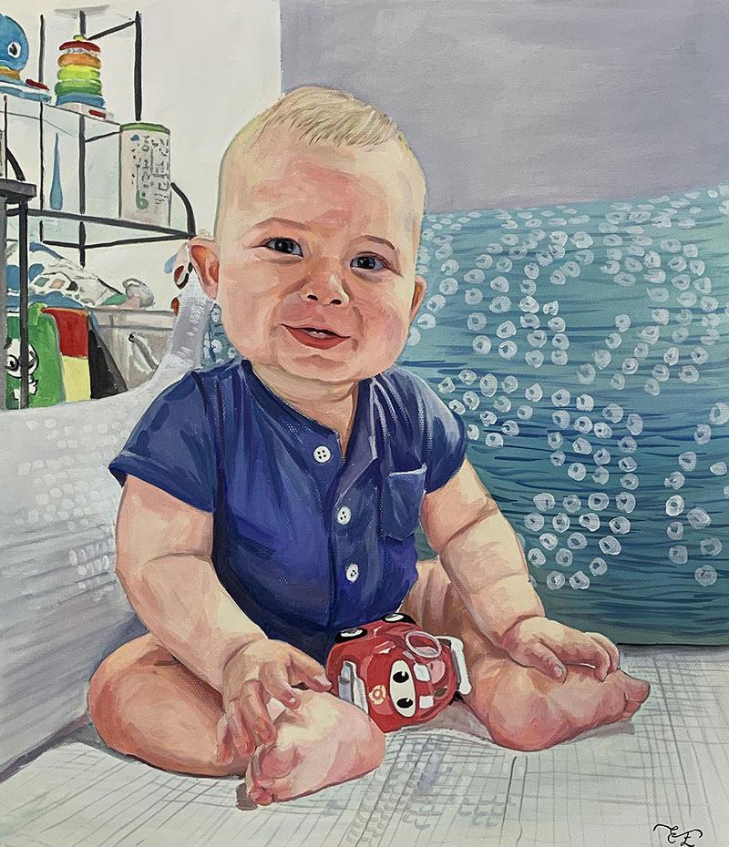 Beautiful handmade pastel artwork of a baby