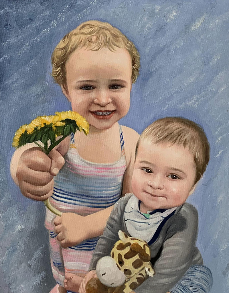 Beautiful oil portrait of sibling with a solid background